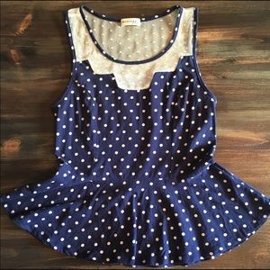 Tops - Polka dot and lace peplum top